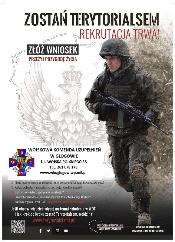 plakat zostań terytorialsem, rekrutacja, złóż wniosek