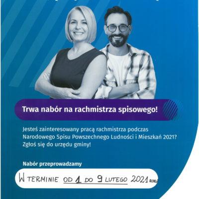 plakat informacyjny promujący nabór na rachmistrza
