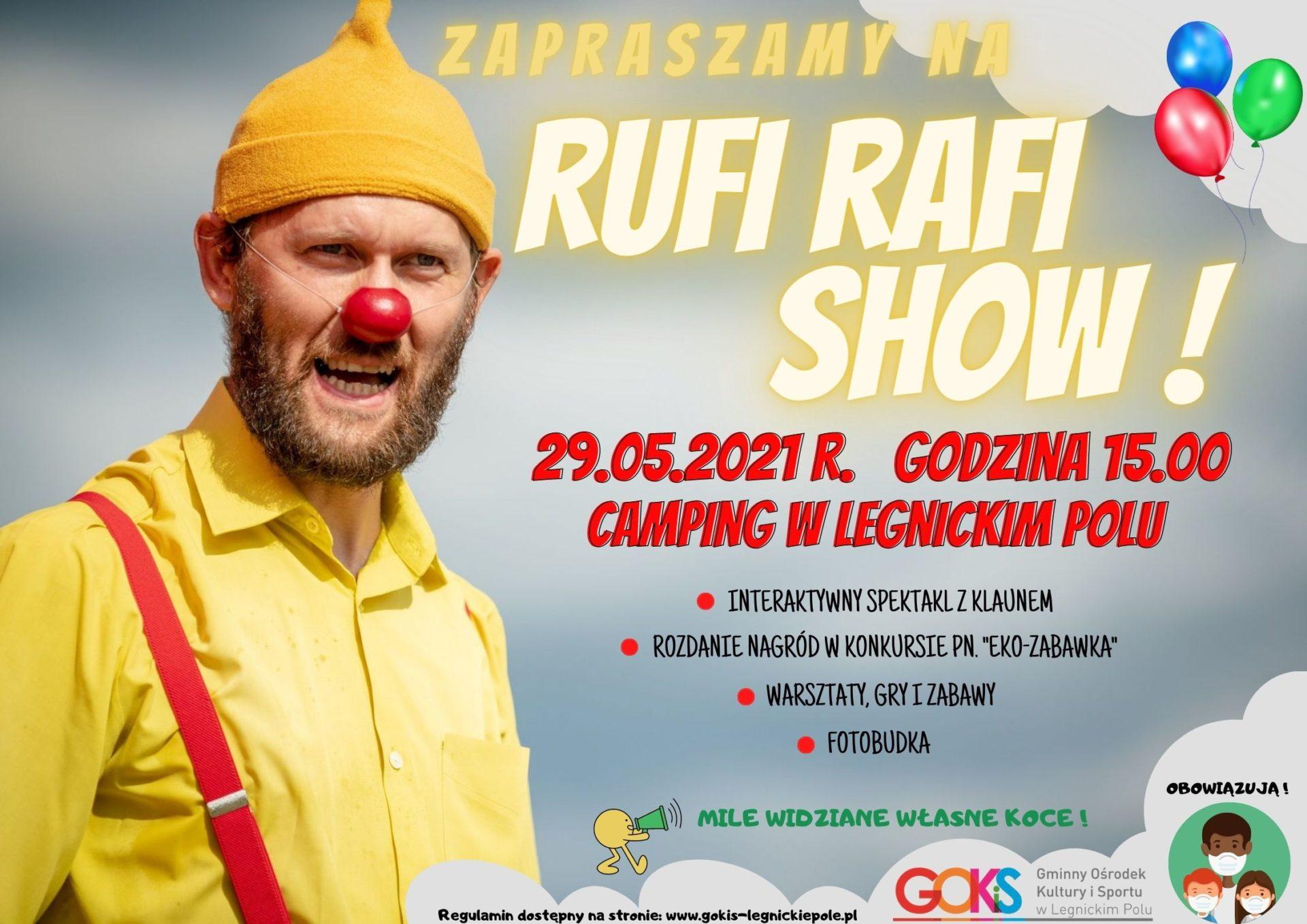 plakat przedstawia postać klauna oraz szczegółowe informacje na temat wydarzenia z okazji dnia dziecka