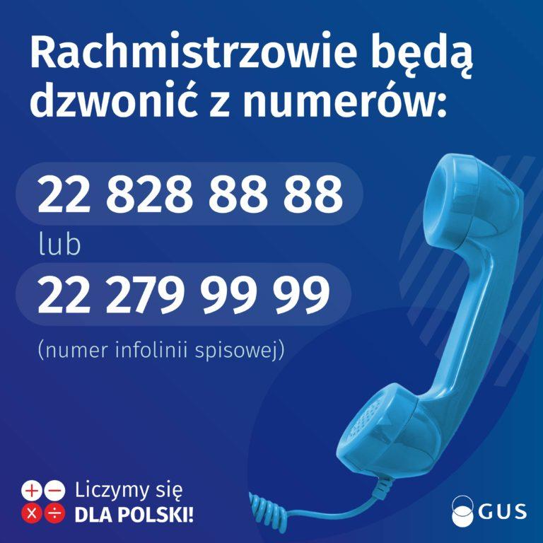 plakat przedstawiający numery telefonów z których będą dzwonić rachmistrzowie spisowi