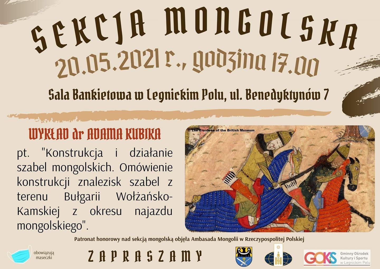 plakat dotyczący sekcji mogolskiej z informacjami na temat dnia godziny oraz miejsca wydarzenia