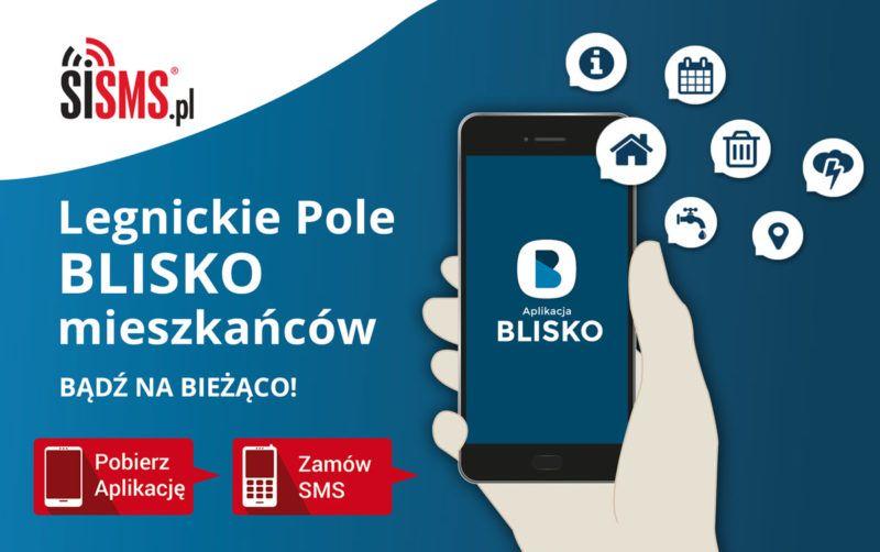 baner przedstawiający dłoń trzymającą telefon i możliwość nabycia aplikacji lub powiadomień sms