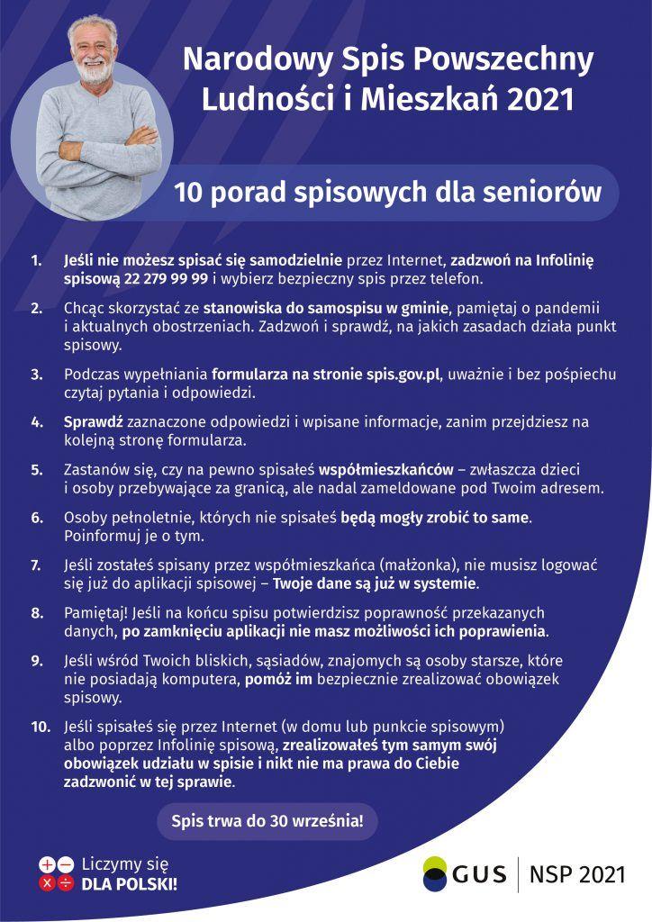 plakat ze zdjęciem seniora i opisanymi 10 poradami dla seniora w sprawie spisu powszechnego