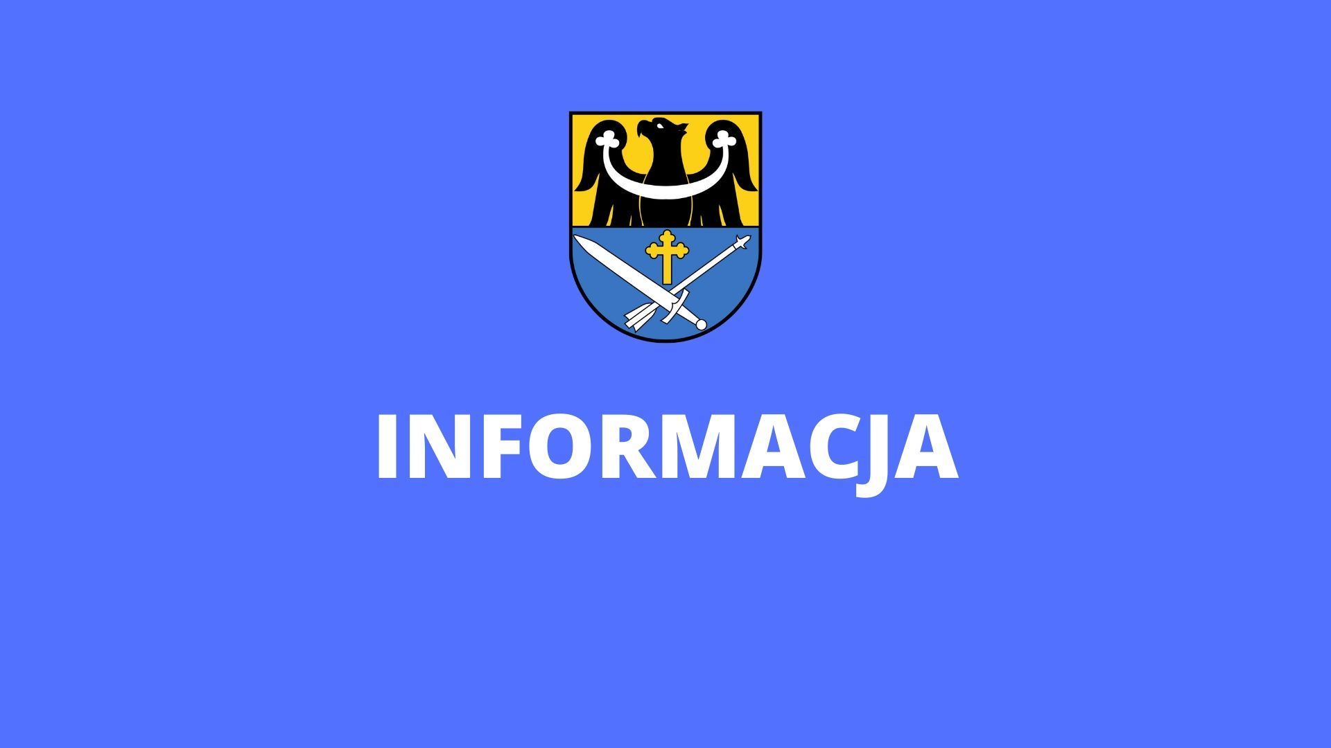 rycina przedstawia herb gminy legnickie pole z napisem w dolnej części informacja