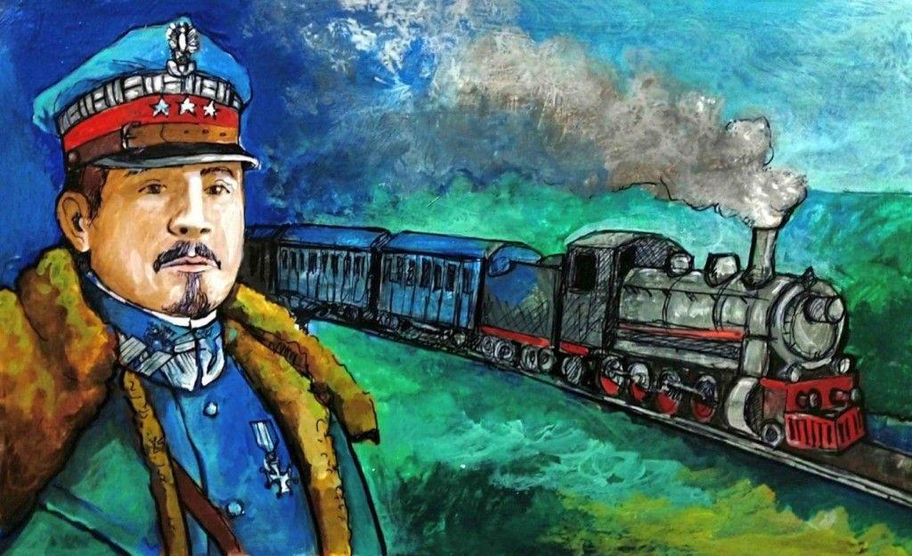 obrazek przedstawia generała a w tle nadjeżdżający pociąg