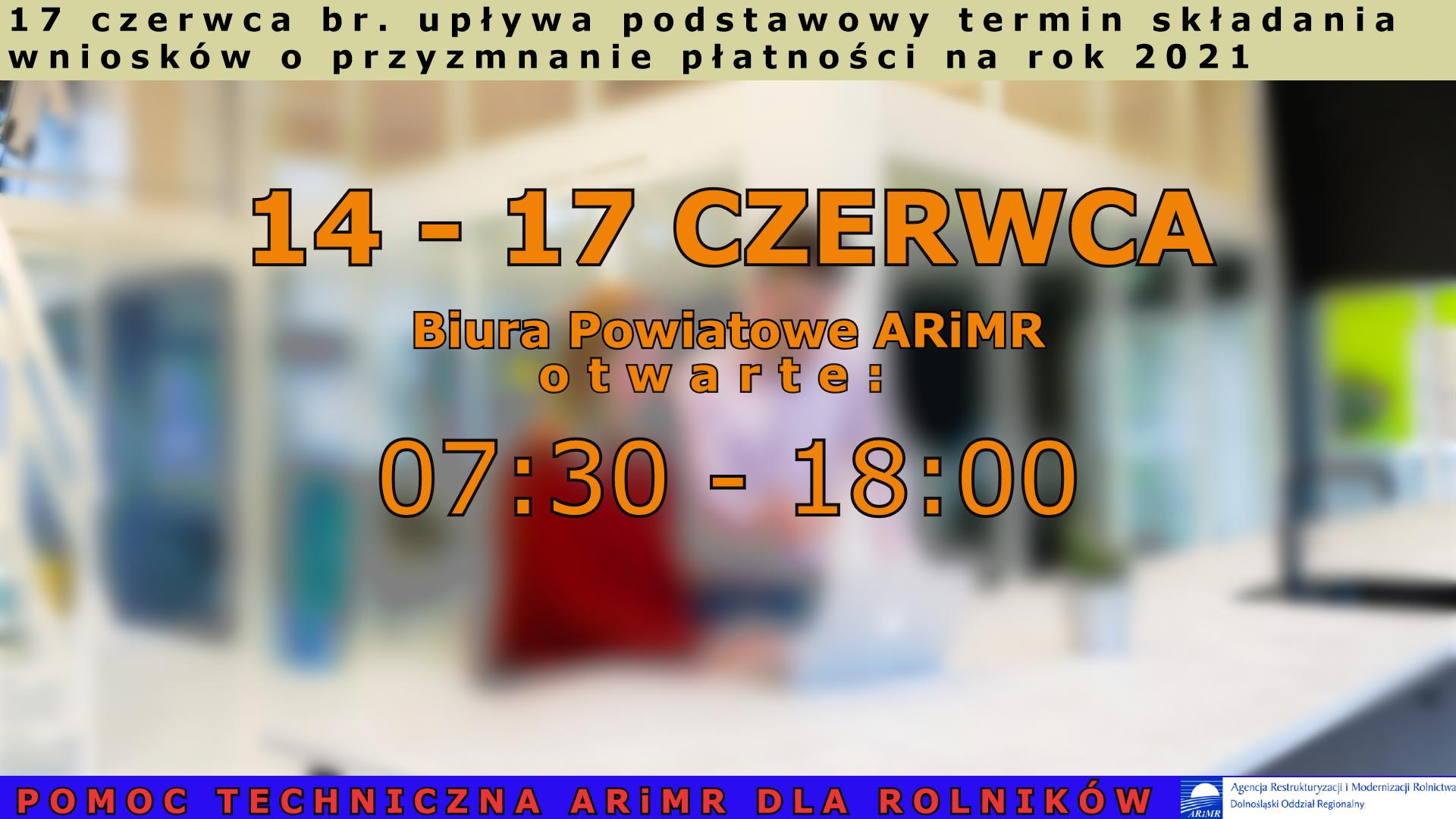 plakat krzyczący że upływa termin składania wniosków o przynanie płatności w dniu 17 czerwca