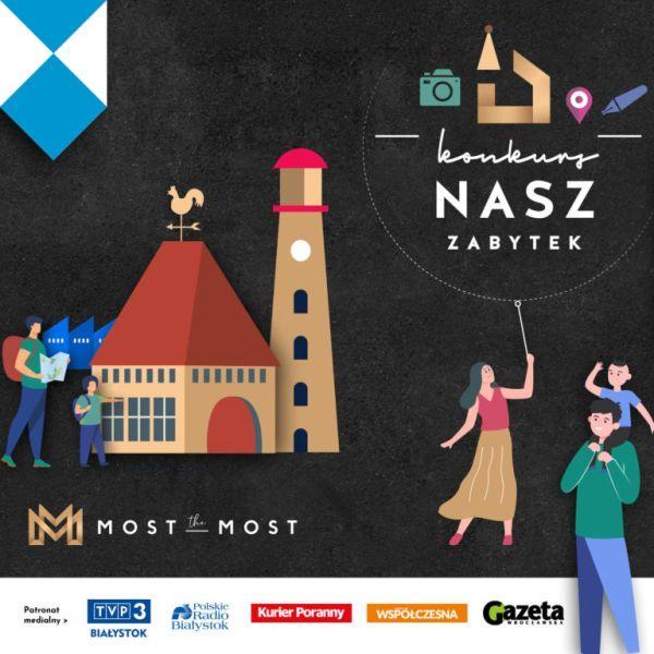 plakat konkursowy przedstawiający ludzi i zabytkowy budynek