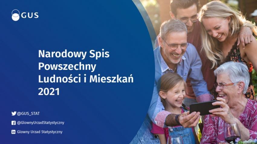 plakat przedstawiający rodzinę spisującą się w narodowym spisie powszechnym
